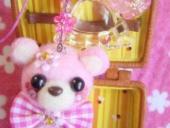 パステルカラーピンクのお座りくまちゃんストラップ☆の画像
