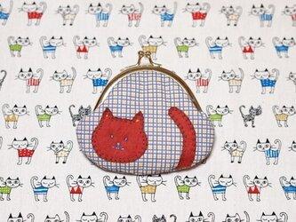赤いネコちゃん*がま口の画像