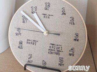 オーダーメイド 家族のバースディ時計の画像