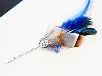 羽のヘアピン1/ blue x brownの画像