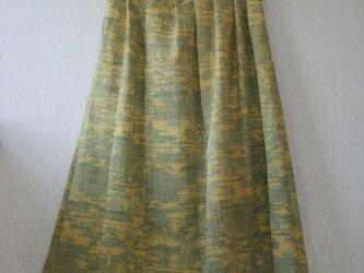 交織 黄色 松島模様 セミロング丈タックスカート MLサイズ の画像