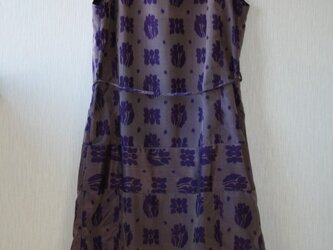 絹 銘仙 花格子 紫 ノースリーブワンピース Lサイズ の画像