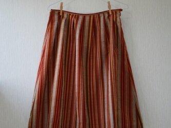 絹 コート地 朱グレー 縦縞 ヒップハングスカート Mサイズの画像