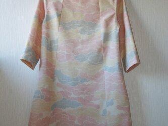 セール!!  紬 雲取り 7分袖ワンピース Sサイズ の画像