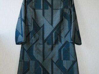 絹 紬 紺 幾何学模様 長袖ワンピース Mサイズ の画像