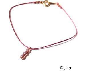 アンティークピンクロープ ブレスレットの画像