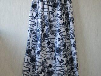 綿 浴衣地 ガーゼ裏打ち マキシゴムスカート Fサイズの画像