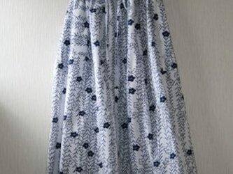 浴衣地 柳にキキョウ ロングゴムスカート Fサイズ の画像