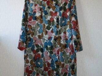 セール!!お召風小紋 薔薇の葉柄 長袖ワンピース Mサイズの画像