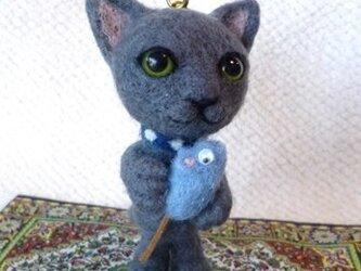 羊毛フェルト グレー猫ちゃんマスコット【Nさまご予約品】の画像