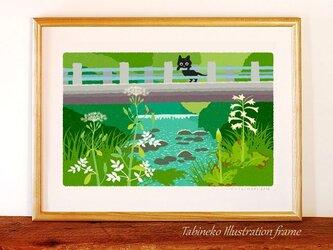たびねこイラストフレーム-07 橋の下で咲くの画像