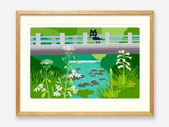 イラストフレーム(07.橋の下で咲く)の画像