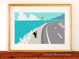 たびねこイラストフレーム-08 海からの風の画像
