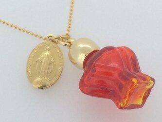フランスアンティークメダイと香水瓶のネックレス -Red-の画像