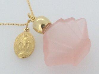 フランスアンティークメダイと香水瓶のネックレス -Pink-の画像