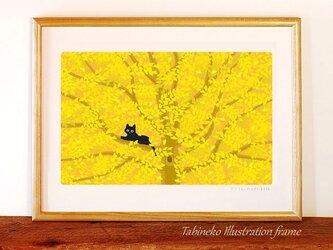たびねこイラストフレーム-11 木の葉がくれの画像