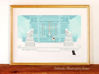 たびねこイラストフレーム-13 雪の初詣の画像