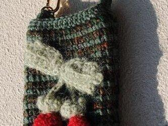 ニットスマホ・携帯ケース(グリーン・チェリー)の画像