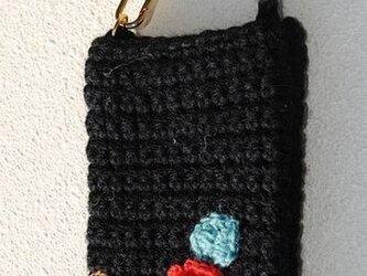 ニットスマホ・携帯ケース(ブラック・バラ)の画像