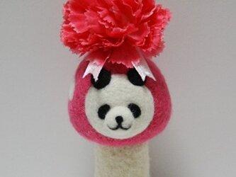 【母の日♪】羊毛キノコパンダマスコット(ピンク・カーネーション)の画像