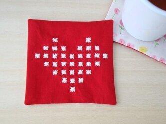 【SALE!】米刺しハートのコースター(赤色)の画像