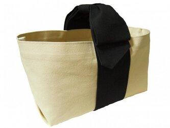 リボンハンドルトートバッグ/ブラックの画像