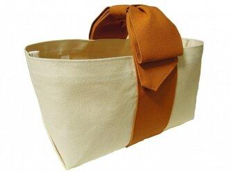 リボンハンドルトートバッグ/キャメルの画像