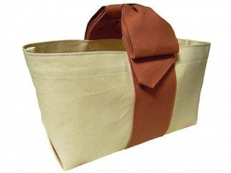 リボンハンドルトートバッグ/スモーキーコーラルの画像