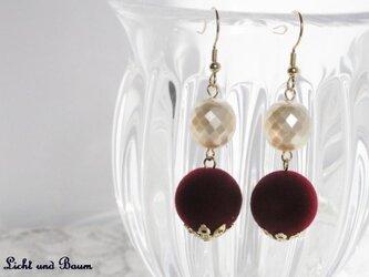 Winter pierced earrings...ボルドーの画像