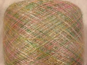 手染め糸 光沢のあるモヘア ピンクグリーン 52gの画像