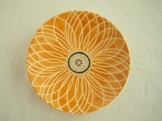 小皿(花)黄色の画像