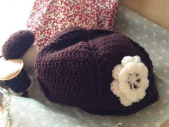 ベビー♪茶色のベレーニット帽子の画像