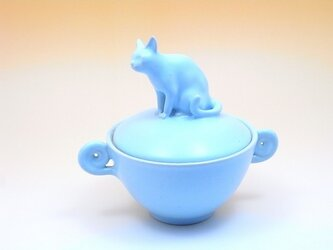 ネコの蓋物・グルグル付き-1の画像
