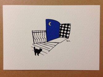 ポストカード 黒猫散歩(窓) 2枚の画像