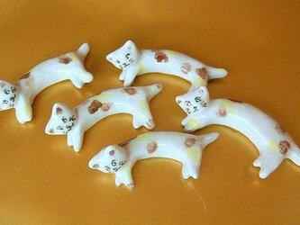◆ 親子ねこ5匹の箸置きの画像