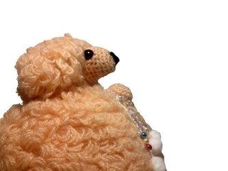 お願いわんちゃん 手作り犬あみぐるみ・トイプーLLベージュの画像