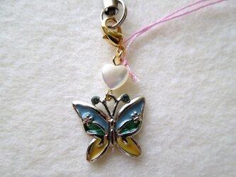 蝶とハートシェルの携帯アクセサリー(ブルーグリーン)の画像