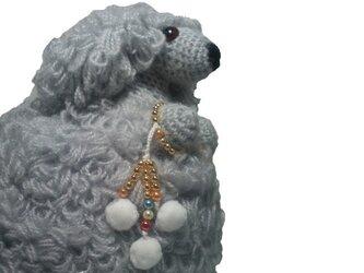 お願いわんちゃん 手作り犬あみぐるみ・トイプーLLグレーの画像