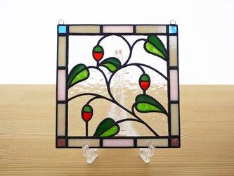 ステンドグラス ミニパネル 赤い実 15cmの画像