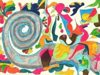 象の神様 妖精達と舞 【原画アート ポストカード】の画像