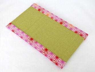 ちりめんミニ畳~カラフルぼかし麻の葉柄(薄ピンク)~の画像