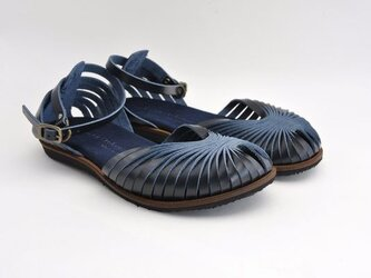 Tokuyama Shoes『ballet sandals』navy leatherの画像