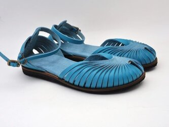 Tokuyama Shoes『ballet sandals』blue leatherの画像