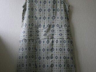 絹 お召し 雫模様 ノースリーブチュニックワンピース MLサイズの画像