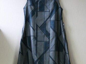 絹 紬 紺 幾何学模様 ノースリーブワンピース Mサイズの画像