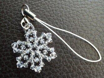 氷の六弁花の携帯ストラップの画像