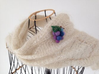 羊毛のブローチ*ぶどう(パープル系)の画像