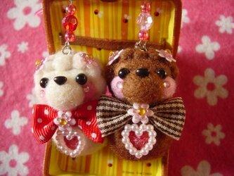 バレンタイン♪チョコ&ホワイトチョコトイプードルペアストラップ☆の画像