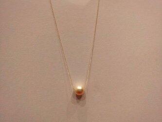 14kgf 一粒コットンパールの華奢ネックレスの画像
