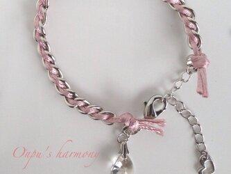 サテンコードブレスレット ピンクの画像